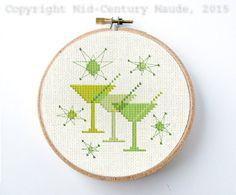Martini glass cocktail Retro Cross Stitch Pattern Atomic Era Mid Century Modern PDF Digital Needlepoint Instant Download