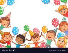 Cute kids joy balloons birthday birthday blank vector image on VectorStock Spring Animals, Cute Lion, Princess Cartoon, Balloon Banner, Cute Fruit, Cute Sloth, Cute Unicorn, Logo Design Template, Planner