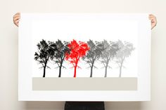 Large Poster Tree Print Black White and Red Nature by DUEALBERI, $45.00