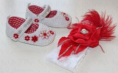Pearl Baby Shoes and Lace Headband!