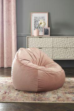Buy Velvet Shell Back Bean Chair from the Next UK online shop Bedroom Chair, Room Ideas Bedroom, Girls Bedroom, Bedroom Decor, Pink Bean Bag, Bean Bag Living Room, Bean Chair, Bean Bag Lounger, Cosy Corner