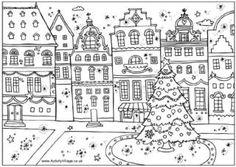 printable Christmas street coloring page
