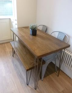 Dining Set  Oak Kitchen Table and Matching Bench by WickedBoxcar