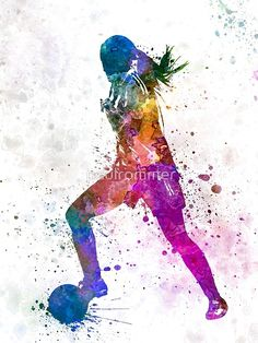 'Girl playing soccer football player silhouette' Photographic Print by paulrommer - Parede de futebol - Soccer Room, Soccer Art, Soccer Games, Play Soccer, Soccer Poster, Soccer Drills, Soccer Crafts, Funny Soccer, Poster