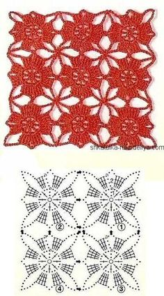 Long evening dress for women crochet Red crochet dress motifs. Long evening dress for women crochet Record of Knitting Wool rotating, weaving and sti. Crochet Square Patterns, Crochet Motifs, Crochet Diagram, Crochet Chart, Crochet Squares, Crochet Doilies, Crochet Flowers, Crochet Stitches, Knitting Patterns