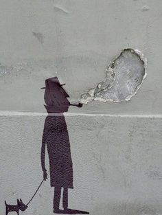 Silhouette on Wall, Smoking Man + Dog, Paris Street Art!