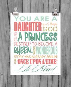 Princess Print Daughter of God by VinylWallDecorandMor on Etsy