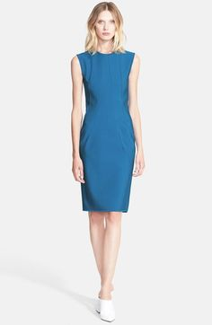 Free shipping and returns on Lanvin Seamed Techno Milano Knit Sheath Dress at Nordstrom.com. Off-kilter vertical seams tilt inward to shape the subtly nipped silhouette of a crewneck sheath cut from a dense milano knit with a luminous sheen.