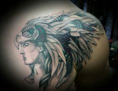 Headdress eagle feathers chest tattoo done by Joy DeHerrera at Theoretical Ink Denver TheoreticalInk.com