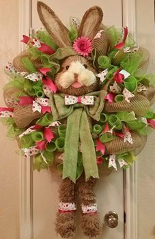 Dapper Rabbit: Easter Wreath, Spring Wreath, Bunny Wreath, Easter Bunny Deco Mesh Wreath, Deco Mesh Wreath, Easter,SPECIAL ORDER ITEM by SouthTXCreations on Etsy