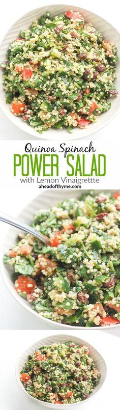 Quinoa Spinach Power Salad with Lemon Vinaigrette
