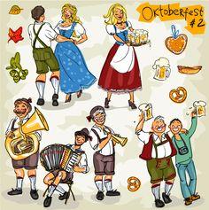 "Personas festejando el ""Oktoberfest"" - Imagen vectorial."