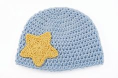 Baby Blue Crochet Hat with Yellow Star // 3 to by lauraanncrochet, $8.00