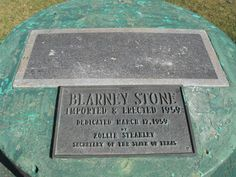 Blarney Stone, Imported and Erected 1959, Shamrock, Texas - the Irish-flavored town has a chunk of the real Blarney Stone encased in a concrete monument in a local park.