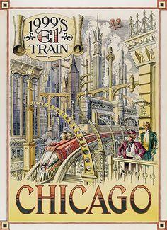 Disneyland Paris - Retrofuture Chicago El Train Poster steam punk style city of the future poster based on 19th century art.