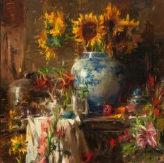 Quang Ho painting  Sunflowers in blue and white porcelain - perfect