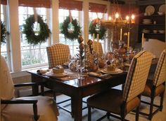 Hang wreaths indoors with ribbon instead of fishing line