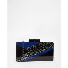 Nali Bolt Glitter Acrylic Box Clutch Bag (475 DKK) ❤ liked on Polyvore featuring bags, handbags, clutches, blackblueglitter, lucite purse, acrylic purse, acrylic handbag, white purse and white handbags