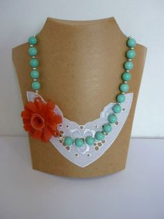 Mint Green Necklace, Mint Necklace, Chunky Beads Necklace, Coral Flower Necklace, Statement Necklace, Pastel Floral Necklace