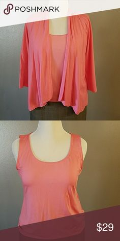 Summer sweater set Comfortable and beautiful. Swing open cardigan with matching tank. Versatile addition to your wardrobe. Lovely coral color. Charter Club Tops