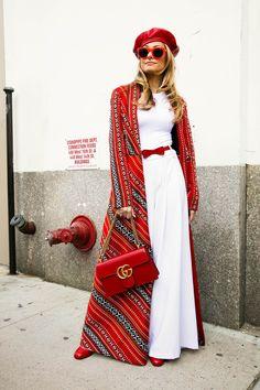 76c0220fc2 106 Best Street Style Looks From NYFW - Cosmopolitan.com  bohofashion  Kimono Fashion