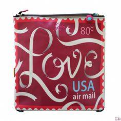 Shopper in pvc con stampa francobollo USA air mail base rosso ciliegia. Collezione primavera/estate 201