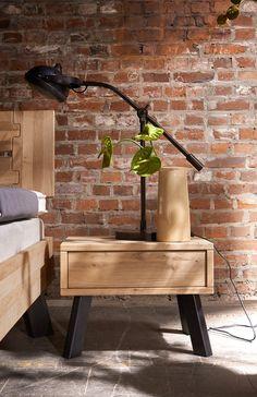 Modern Sleep by Tjørnbo – Bed Oak bianco - Painting Style Industrial Bedroom, Industrial Style, Bedroom Furniture, Furniture Design, Modern Bedside Table, Desk Lamp, Outdoor Decor, Home Decor, Diy Bett