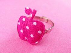 Polka Dot Apple Ring - Dark Pink