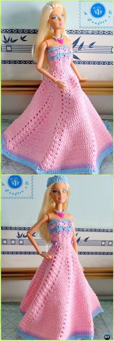 Crochet Fashion Doll Strapless Gown Free Pattern-Crochet Doll Clothes Outfits Free Patterns