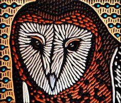 barn owl woodcut ~Lisa Brawn