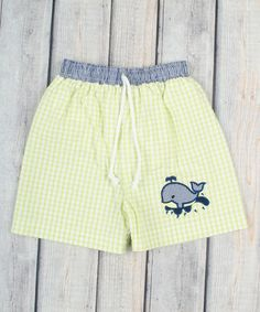 Another great find on #zulily! Lime Gingham Whale Swim Trunks - Infant, Toddler & Boys #zulilyfinds