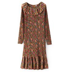 Granny Chic Floral Ruffle Trim Dress (185 CNY) ❤ liked on Polyvore featuring dresses, brown, floral printed dress, round neck dress, floral dress, zipper back dress and ruffle dress