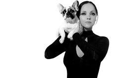 Christina Ricci and her French Bulldog.