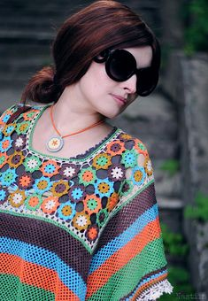 OOAK DIY Crochet lace multicolored poncho by NastiinDesigns