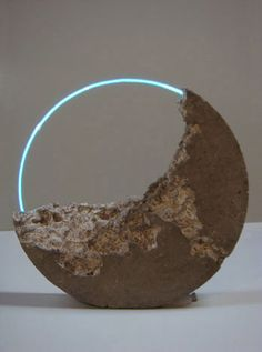 Sarah Blood | Luna Fossil IV, 2010, flameworked glass, argon, cement, pigment, approx 63 x 63 x 12 cm