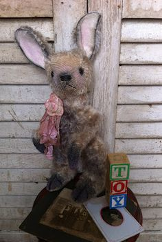 My new bunny rabbit pattern. She is made in an antique, primitive style. Created from mohair. www.BradyBears.com