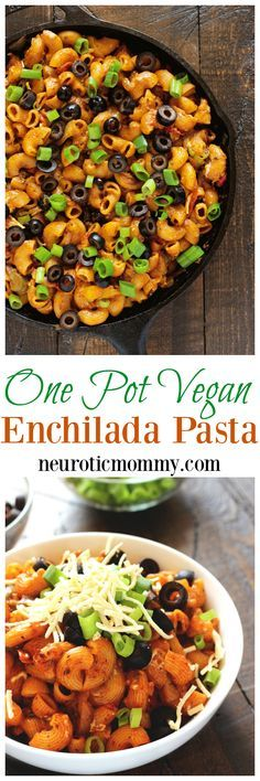One Pot Vegan Enchilada Pasta - This go to weeknight dinner is perfect for healthy, quick, and easy. The melty vegan cheese, vegetables, and comfort of pasta are ready to eat in less than 20 minutes. NeuroticMommy.com #vegan #dinner #backtoschool
