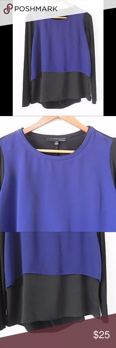 "Elie Tahari for Design Nation Tunic Top Elie Tahari for Design Nation Tunic Top Long Sleeve Layered Blue/Black Size S. Smoke free home. . Material - 100% Poly Front ?. ?Rayon Blend on back and Sleeves. Measurement approximations taken laying flat: ?? Length? 23"" Front ?. ?27"" Back ? Elie Tahari Tops"
