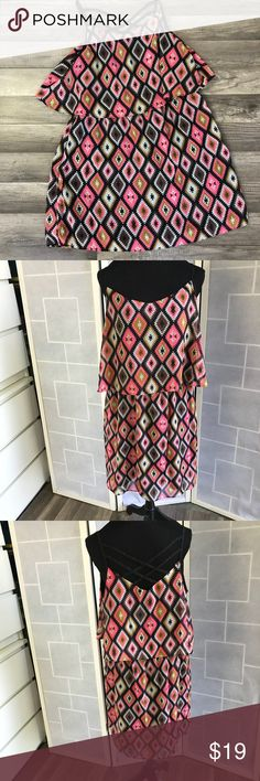 "Southwestern cage back summer dress 14/16 Fabulous Summer vibes Southwestern print Cage back Dress   Elasticized waist GUC   Cool cage back Blouses effect  Originally $39.00  Measurements- Across 19"" across 18""waist 21"" Length   This is from my actors prop wardrobe closet. I'm a professional makeup artist and wardrobe stylist for film. Come follow my antics on instagram under my company bombshellfactory. Dresses Mini"
