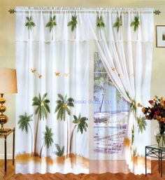 Nice Palm+tree+seer+curtais | WHITE BEACH PALM TREE 6PC WINDOW CURTAIN/