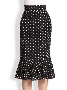 Dolce & Gabbana Polka Dot Silk Trumpet Skirt