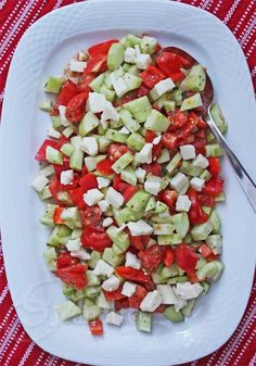 Cucumber Tomato Pepper Salad with Extra-Aged Goat Cheese Recipe