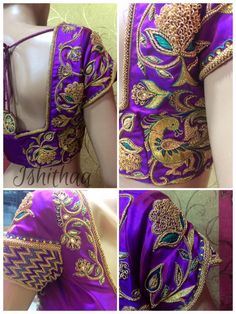 Peacocks and flowers go hand in hand... Bridal blouse designed at Ishithaa !! The petal sleeves with zig zag on one part and the other with floral design made her stand out as a stunning bride... ud83dude0dPing us on 9884179863 to book an appointment... :)  24 November 2016