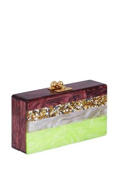 Jean Striped Acrylic and Glitter Clutch by Edie Parker Now Available on Moda Operandi