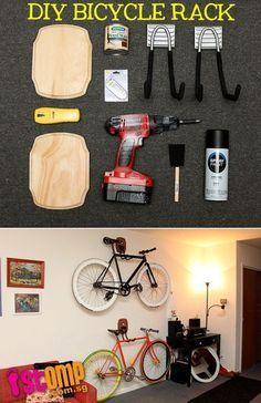 DIY Bicycle Rack: Perfect for small spaces » http://www.minipennyblog.com/2011/03/custom-diy-bike-storage.html