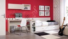 Teen Bedroom Inspiration, Simple Computer Desk, Teen Bedroom Designs, Red Paint, Storage Drawers, Home Decor Bedroom, Bunk Beds, Furniture, Wall Decal