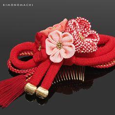 正絹 つまみ細工髪飾り「赤色 絞り、つまみのお花と丸ぐけ、組紐」<H> 振袖髪飾り 成人式 結婚式 振袖 華やか髪飾り つまみ細工髪飾り 【メール便不可】【楽天市場】