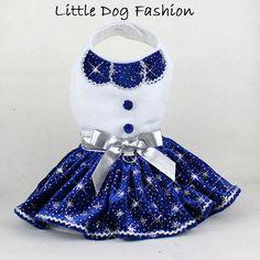 Blue Stars Velvet Christmas Party dog dress by LittleDogFashion