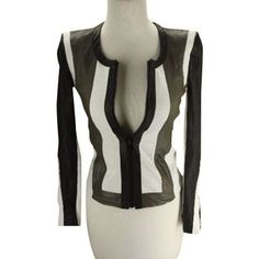 Pre-Owned Helmut Lang Pax Striped Leather Biker Jacket Size Petite... ($317) ❤ liked on Polyvore featuring outerwear, jackets, black, color block jacket, leather motorcycle jacket, rider leather jacket, genuine leather jackets and biker jacket