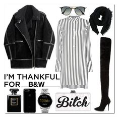 """Black and White"" by anotherdirectioner12 ❤ liked on Polyvore featuring McQ by Alexander McQueen, Balmain, H&M, Ray-Ban, Rick Owens, Chanel, FOSSIL and imthankfulfor"